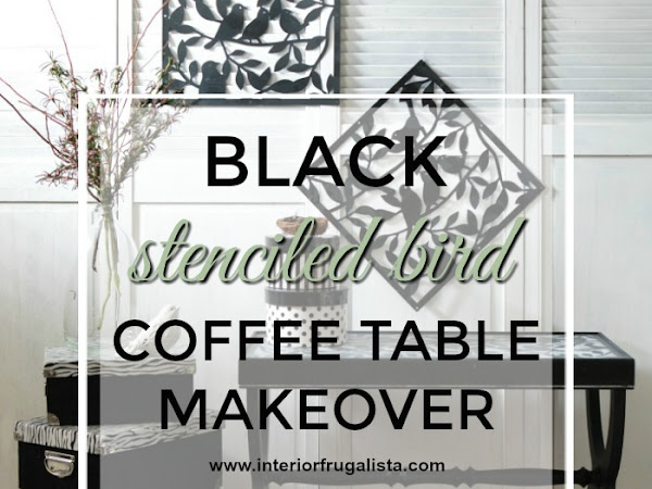Black Stenciled Coffee Table With Plastic Overlays