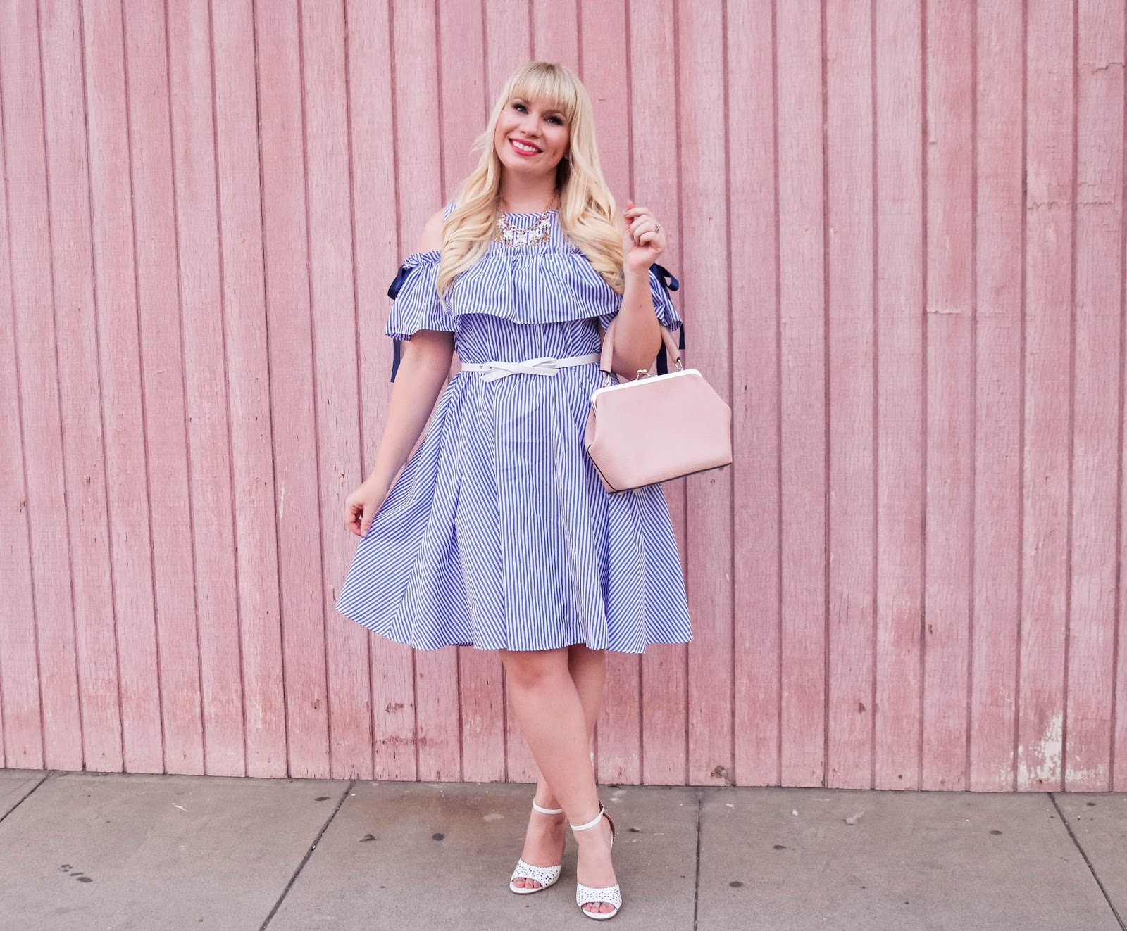 Ruffles, Bows and Stripes – The Cutest Blue Striped Dress