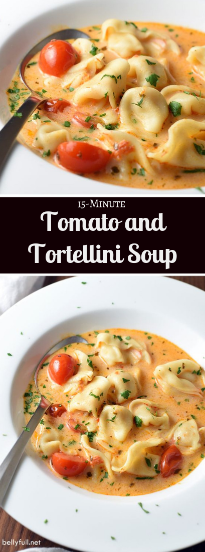 15-Minute Tomato and Tortellini Soup #vegan #tomatorecipe