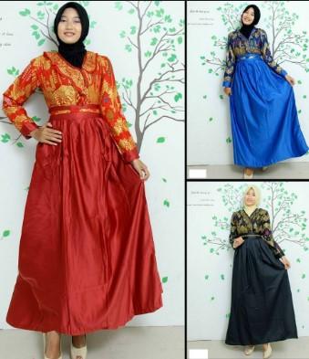 Model Baju Muslim Kombinasi Batik Dengan Kain Polos