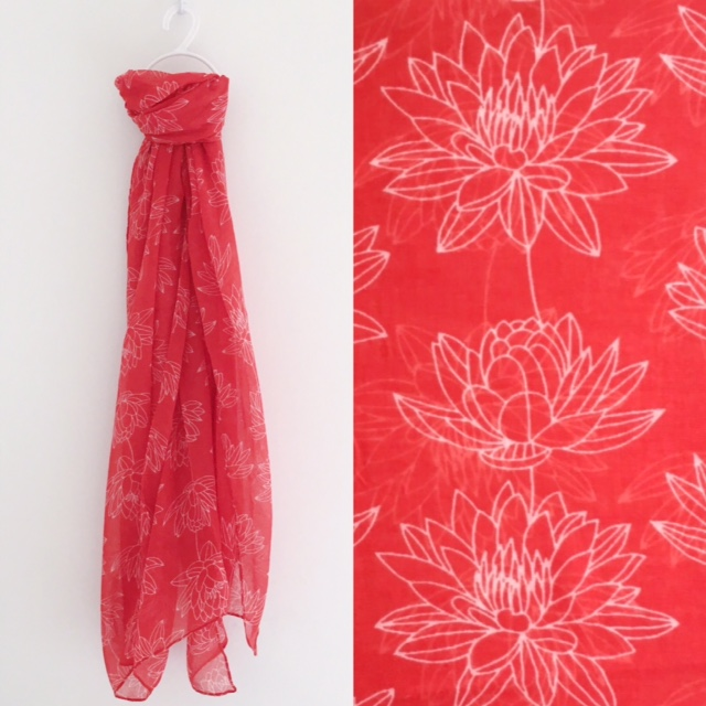 Red flower scarf, Lizzy O Boutique