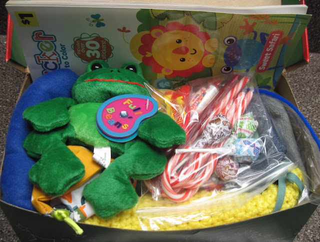 A full shoebox for a 2 to 4 year old boy thru OCC.