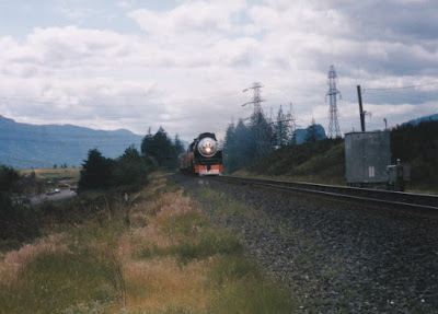 "Southern Pacific ""Daylight"" GS-4 4-8-4 #4449 at North Bonneville, Washington, on June 7, 1997"