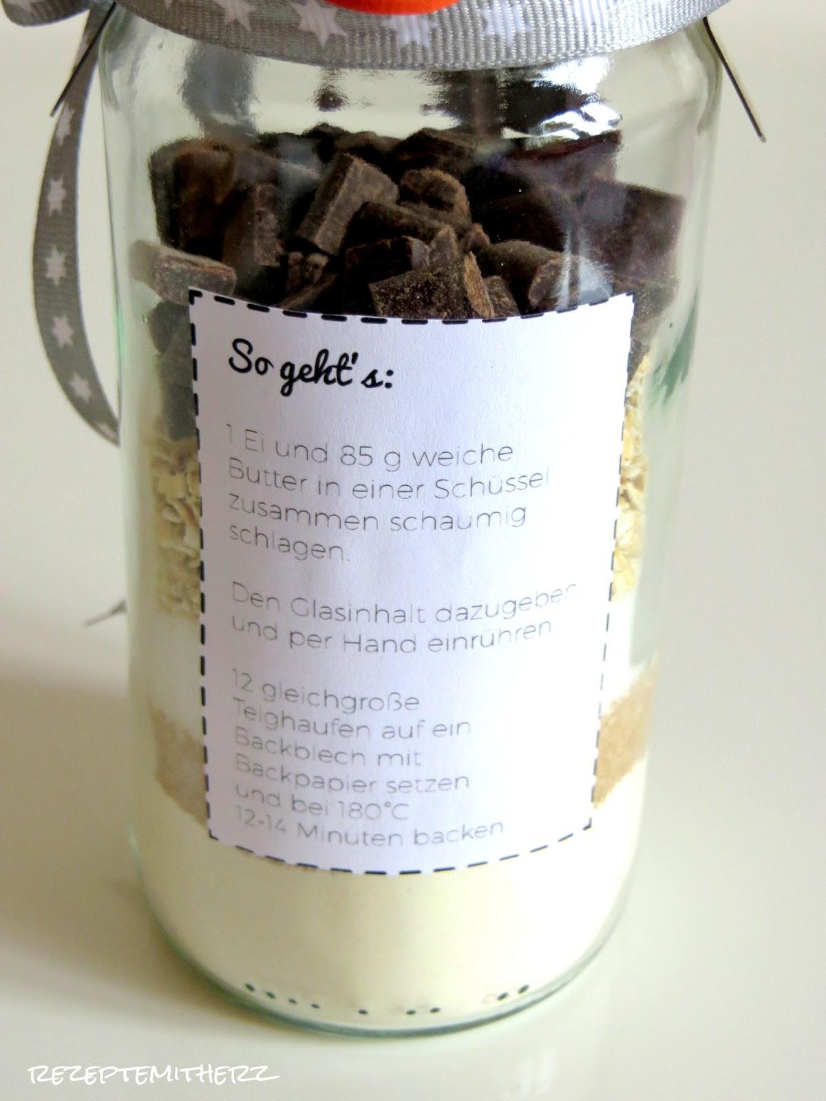 Fabelhaft Backmischung im Glas : Chocolate Chip Cookies mit Haferflocken ♡ SQ76