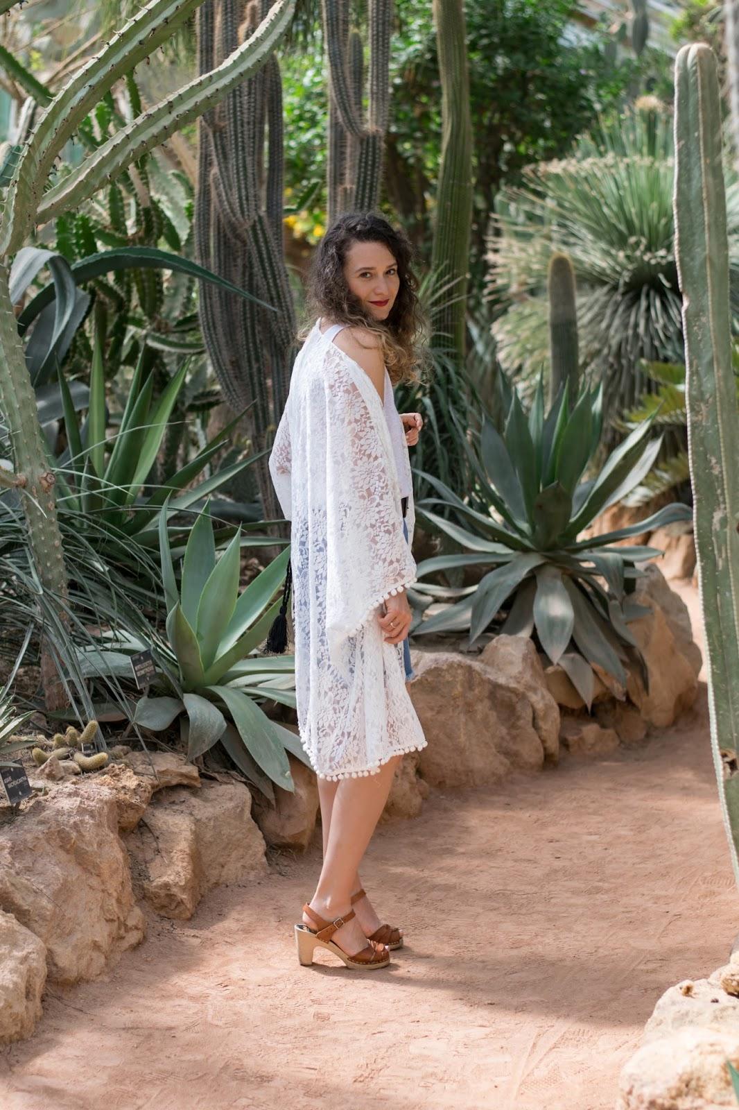 Kimono en dentelle blanc shein