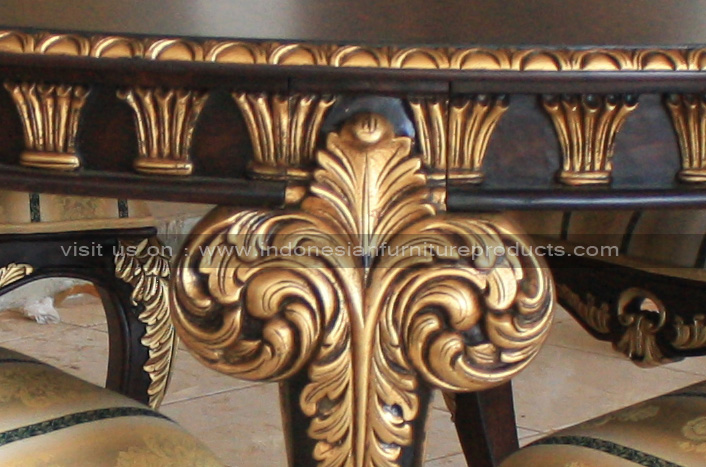 New ANTIQUE ROUND DINING FURNITURE SET CUSTOM WITH GOLD FINISH ON  EV05