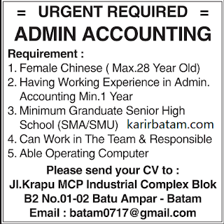 Lowongan Kerja Admin Accounting Batu Ampar