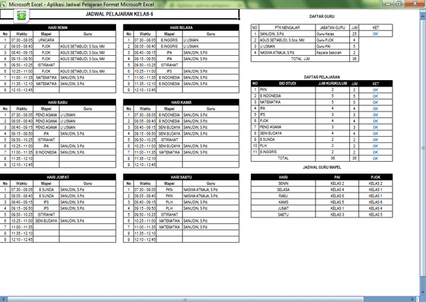 Aplikasi Jadwal Pelajaran SD Format Microsoft Excel