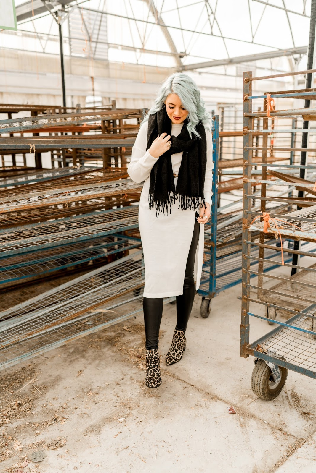 Blue Hair, Leopard Booties, Fashion Blogger