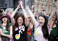 Irish women celebrating 8th Amendment repeal