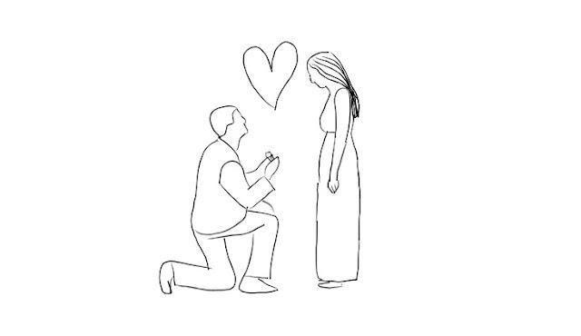 Rysunek - mężczyzna klęka, żeby oświadczyć się swojej ukochanej.