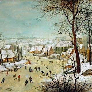 illustration du petit age glaciaire à la fin du moyen age : les rivières gelées des tableaux de Bruegel