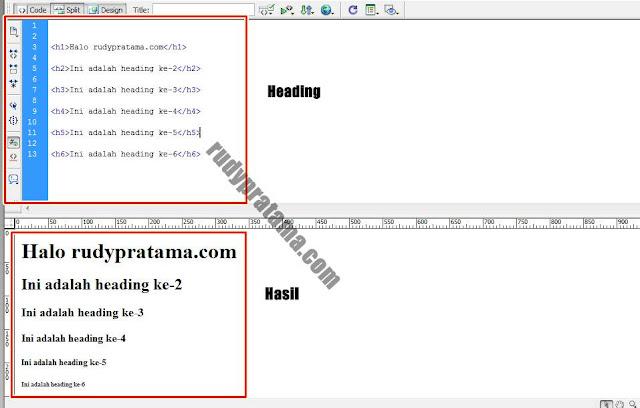 Cara Membuat Heading HTML