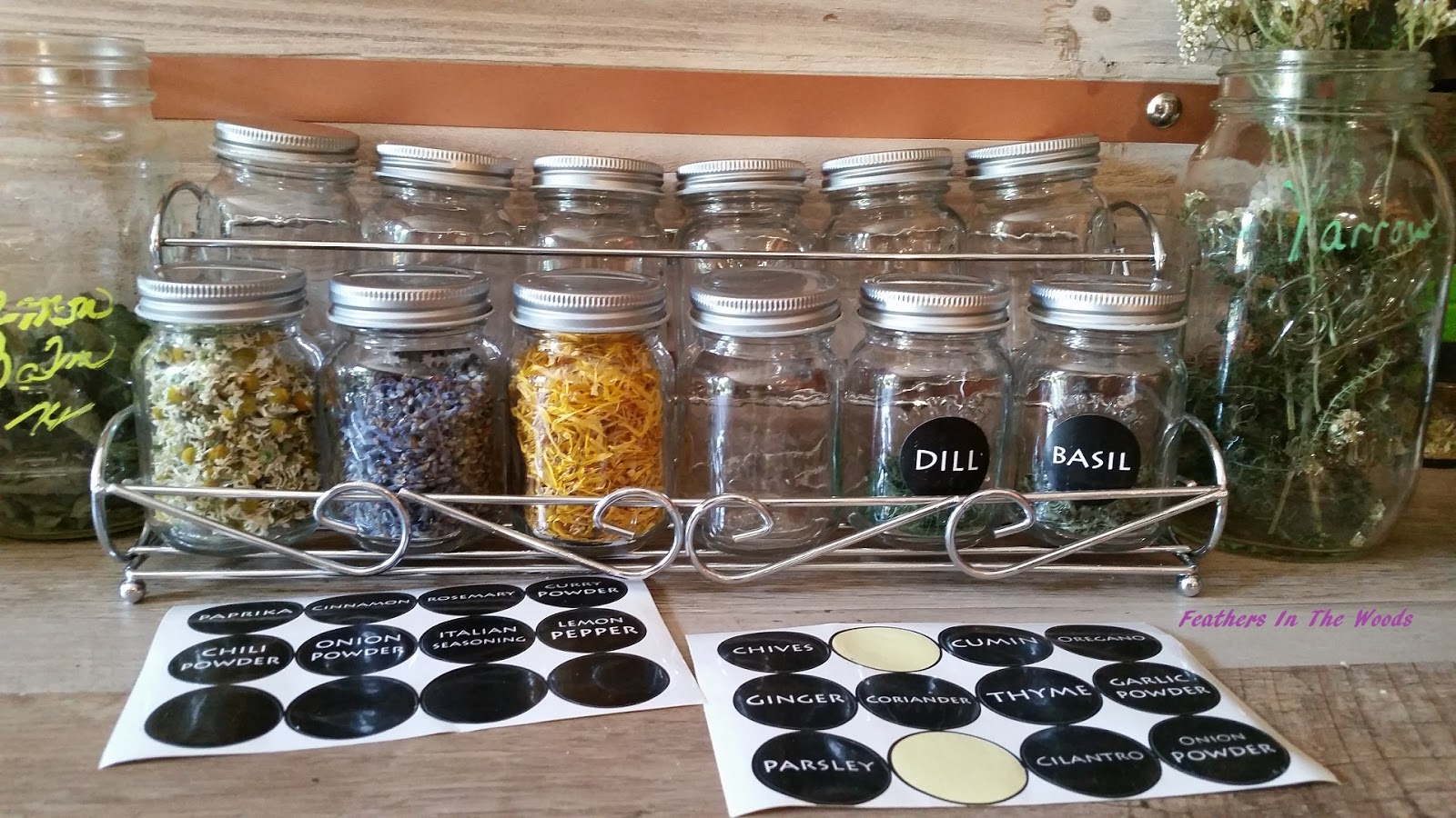 herbs and spice storage in glass jar