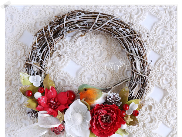 Christmas Wreath with Foamiran Flowers