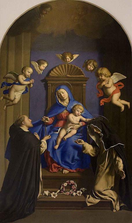 São Domingos de Gusmão recebe o terço de Nossa Senhora. Igreja de Santa Sabina, Roma