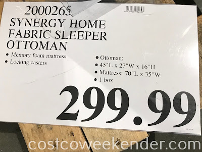 Deal for the Synergy Home Furnishings Fabric Sleeper Ottoman at Costco