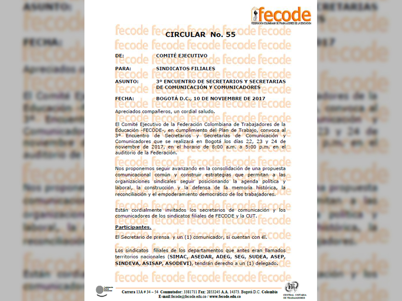 Circular Nº 55 de FECODE.