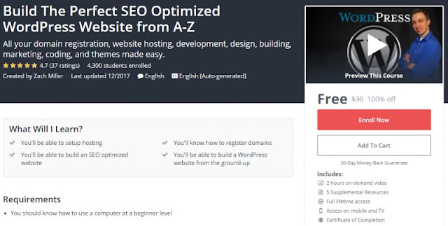 [100% Off] Build The Perfect SEO Optimized WordPress Website from A-Z| Worth 30$