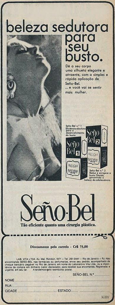 Propaganda de adesivos para os seios Seño Bel apresentado no final dos anos 70