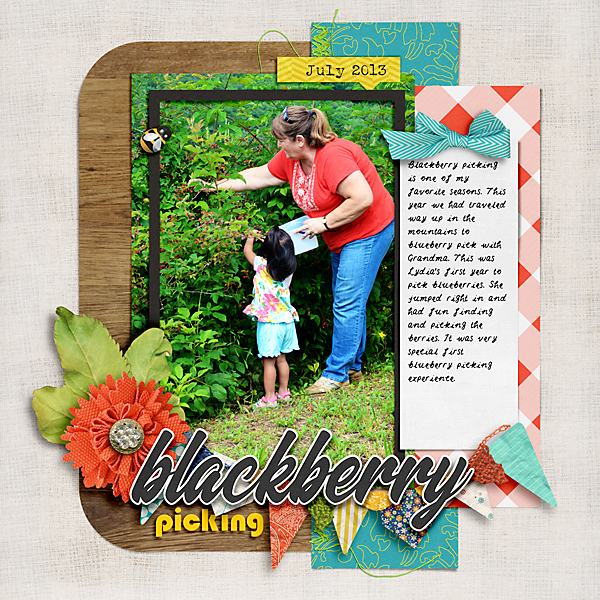 Digital Scrapbook Blackberry Picking