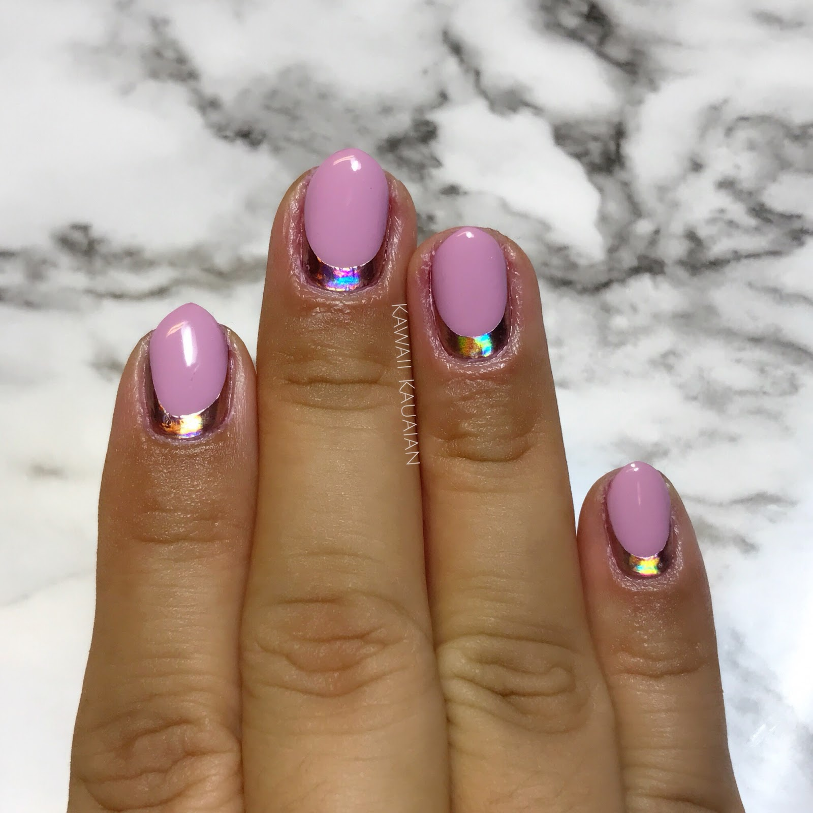 This Week\'s Nails: Rose Gold Holo Cuffs - Kawaii Kauaian