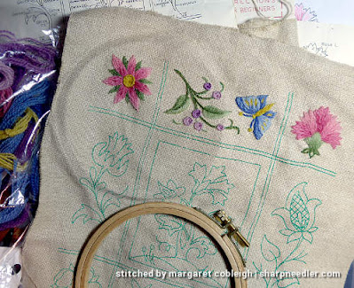 Crewel Sampler (by Elsa Williams): Top row of elements complete