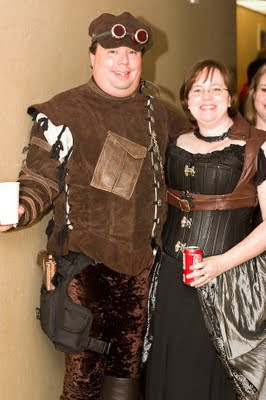 Brent Morgan and Cherie Morgan show off their steampunk finery at Apollocon 2011