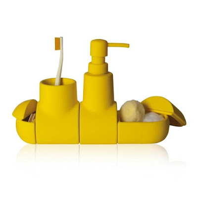 Beautiful Yellow Submarine Porcelain Bathroom Accessory Set From Seletti