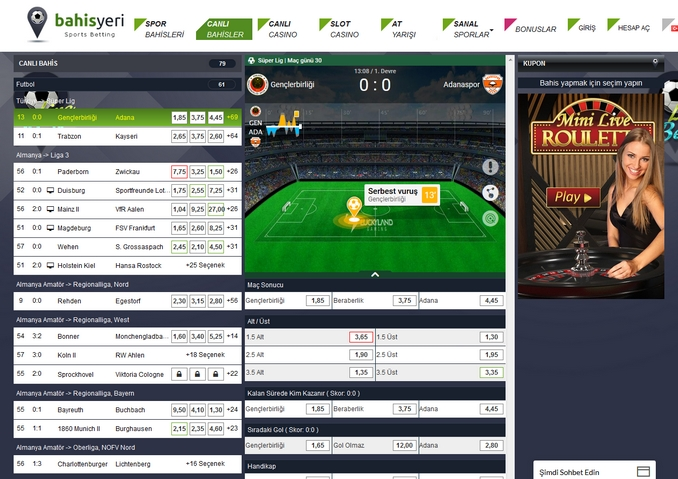 Bahisyeri Live Betting Screen