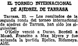 I Torneo Internacional de Terrassa 1960, La Vanguardia del 24 de junio