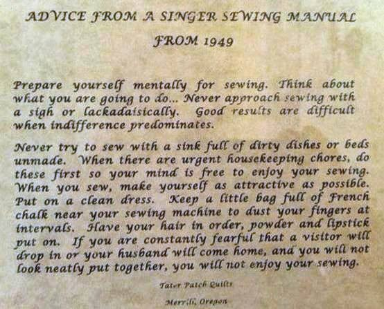 advice from Singer Sewing manual 1949