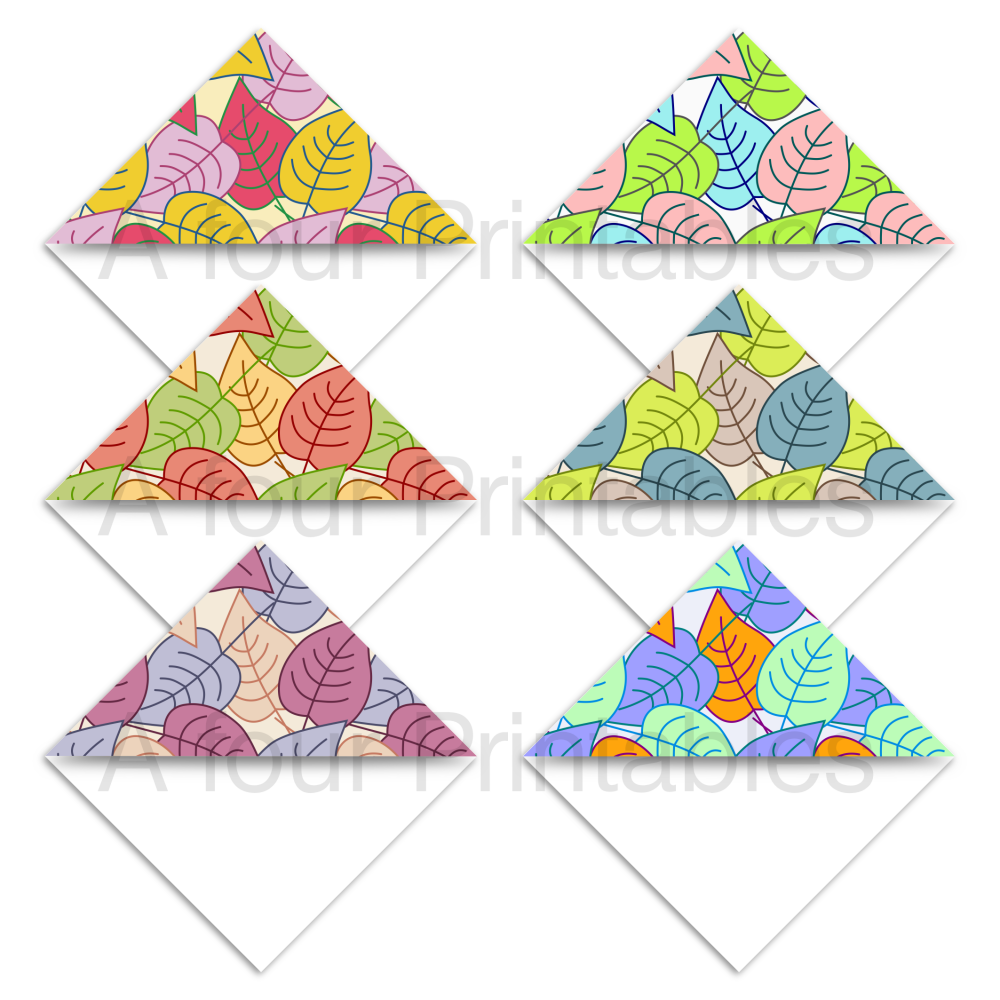 Set of six Autumn leaves pattern bookmark corner page markers from A four Printables.