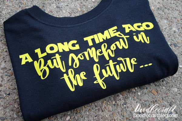 Make a funny geek inspired Star Wars shirt with Cricut and sportflex iron on vinyl.