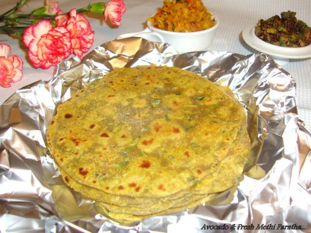 images of Avocado & Fresh Fenugreek Paratha / Avocado Methi Paratha