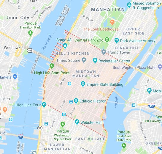 midtown en manhattan mapa google maps