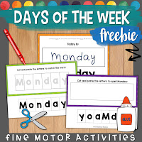days of the week freebie resource with options for differentiated instruction