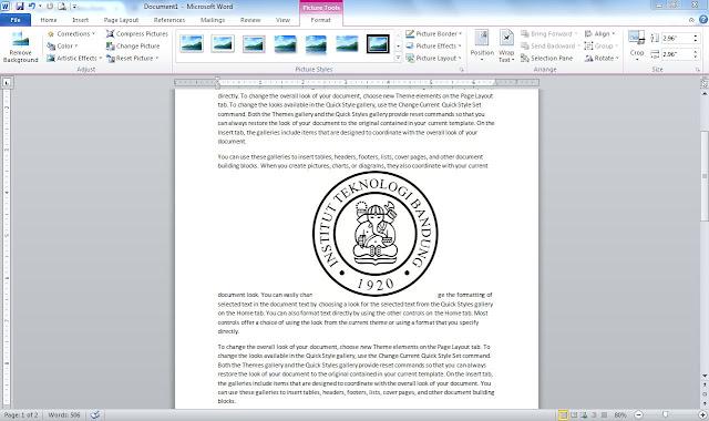 Cara Membuat Text diatas Gambar di Ms Office Word / Background