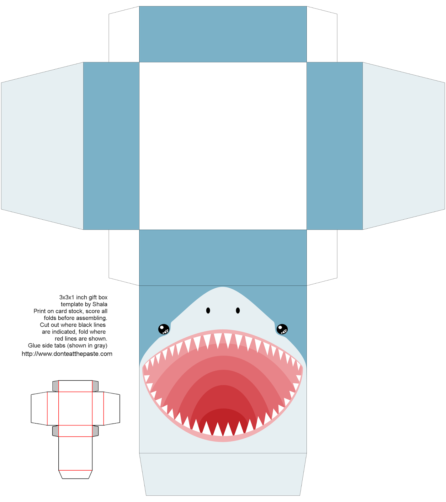 Don T Eat The Paste Printable Shark Box