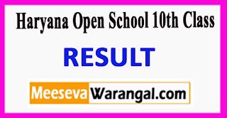 Haryana Open School 10th Class Result 2017
