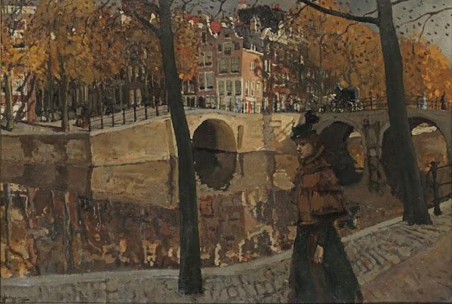 Obra de arte siglo XIX, pintor Hendrik Breitner. Mujer paseando a la orilla del río de la ciudad.