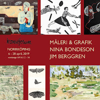 Nina Bondeson & Jim Berggren Måleri & Grafik på Konstforum Norrköping 6-28 april 2019