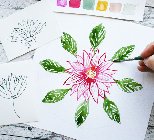 Louise Gale, Watercolor, Botanical Mandala, painting, mandala, flowers, dahlia flower