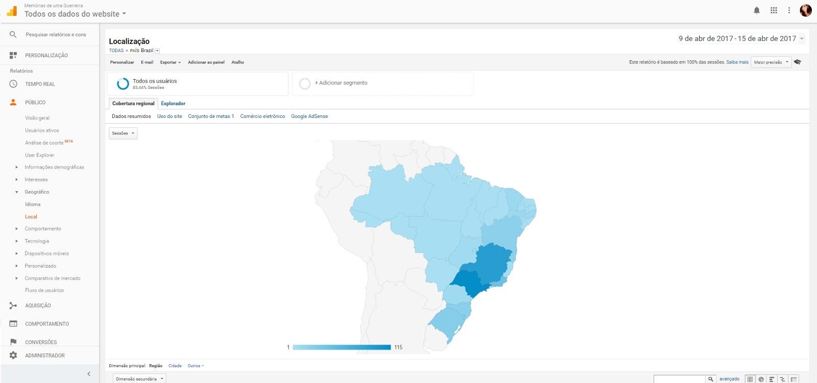 Google Analytics mapa geográfico