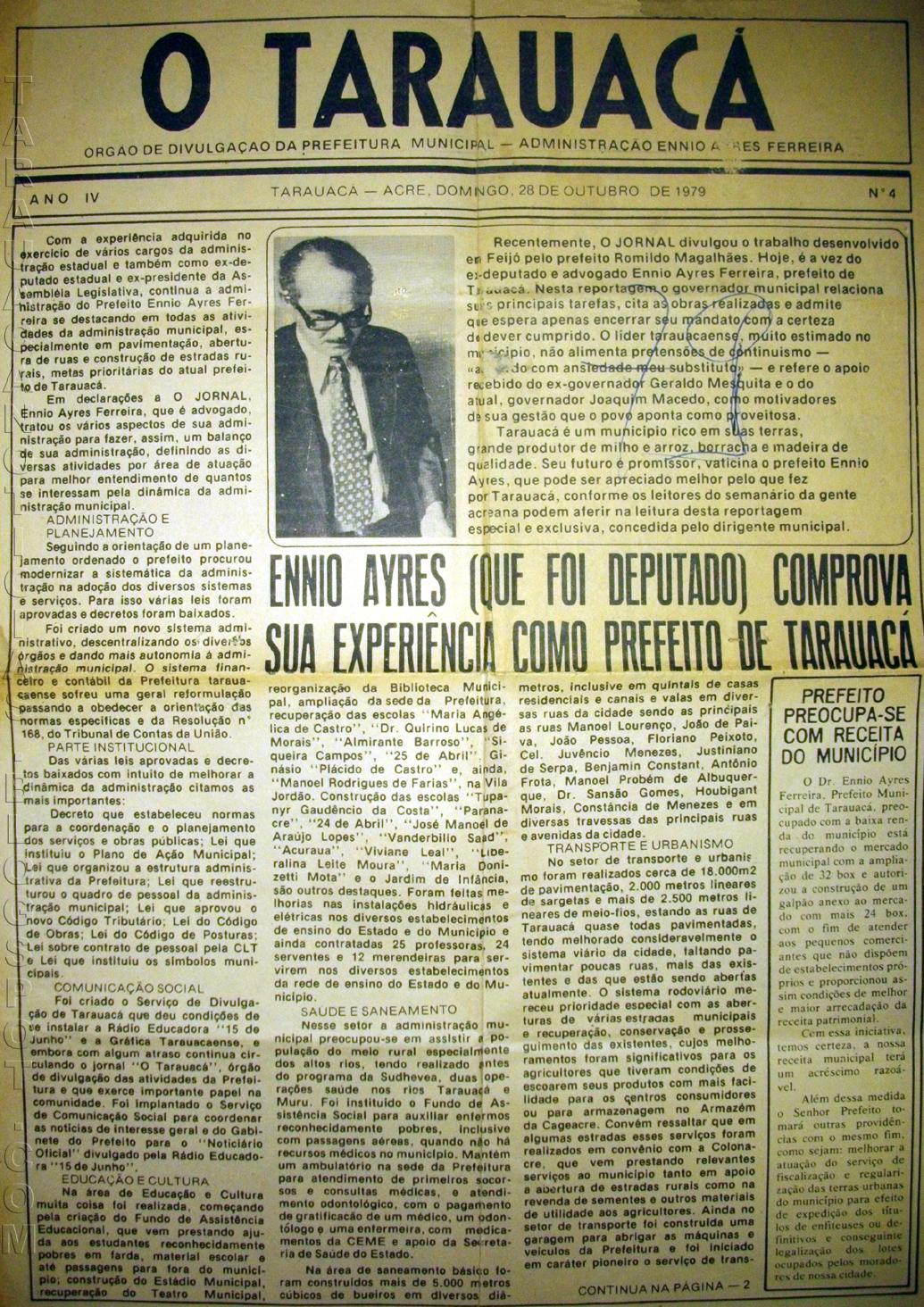 Exemplar do Jornal O Tarauacá. Década de 1970. Foto: Tarauacá Notícias