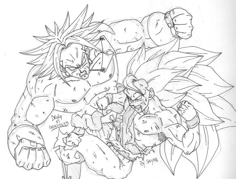 Desenho De Saiyan Para Colorir: Dragon Ball: El Retorno De Los Enemigos: Broly Vs Goku Ssj3