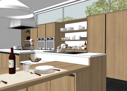 Aportes sketchup accesorios para cocinas sketchup for Kitchen design using sketchup