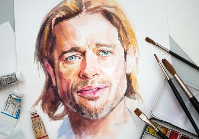 Retrato en acuarela de Brad Pitt