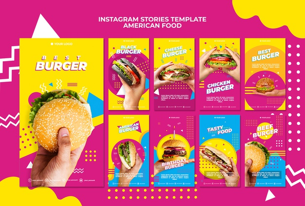 American food instagram stories template Free Psd
