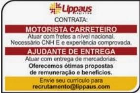 A Lippaus Logística está contratando Motorista Carreteiro e ajudante de  entrega. b1cb57d2634ca